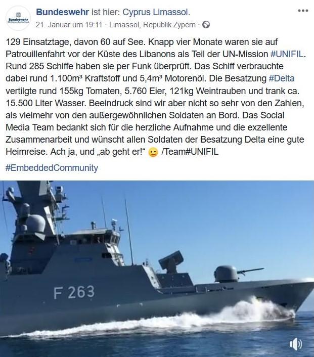 Ein Schiff der Bundesmarine sticht in See.