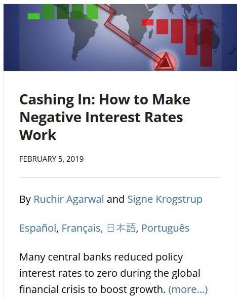"""Auszug aus der IWF-Internetseite mit dem Titel """"Cashing in: How to Make Negative Interest Rates Working""""."""