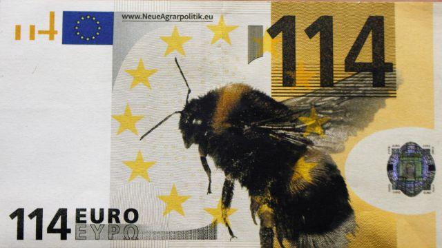 Geldschein mit dem Aufdruck 114 EURO und einer Biene.