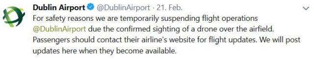 Der Flughafen in Dublin wurde wegen einer Drohnensichtung gesperrt, so der Tweet.