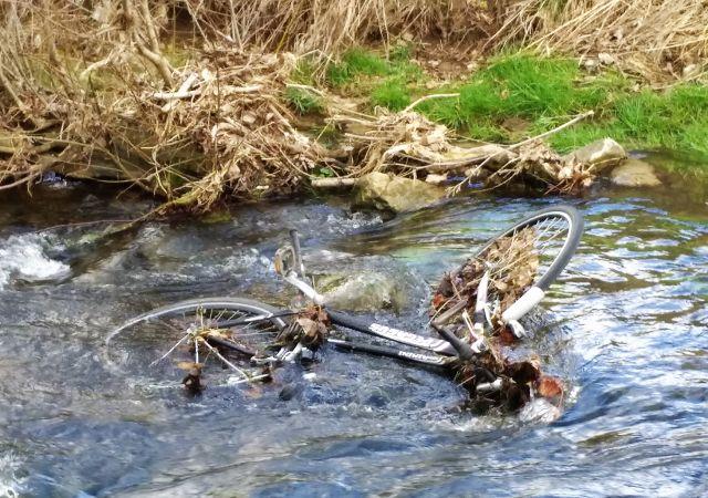 Ein komplettes Fahrrad liegt in einem Bach, dahinter das grasbewachsene Ufer.