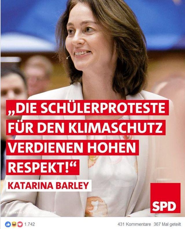 """Katarina Barley in einem Facebook-Post. """"Die Schülerproteste für den Klimaschutz verdienen hohen Resoekt."""""""