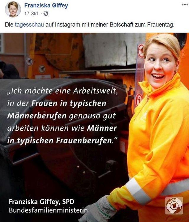 Franziska Giffey, blonde Haare, im gelb-orange-farbenen Anzug einer Müllwerkerin.