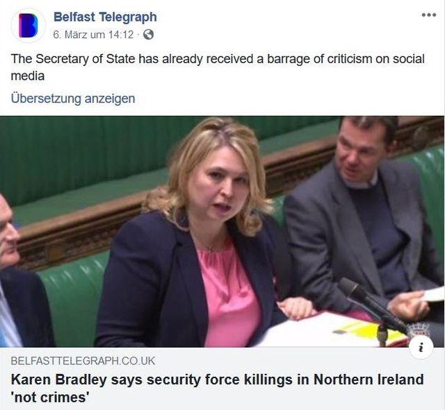 Karen Bradley im britischen Parlament mit dunkler Jacke und pinkfarbener Bluse.