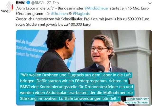 """Andreas Scheuer in einem Tweet mit der Aussage: Er lege ein Förderprogramm für Drohnen und Flugtaxis auf, die er """"aus dem Labor in die Luft bringen"""" wolle."""