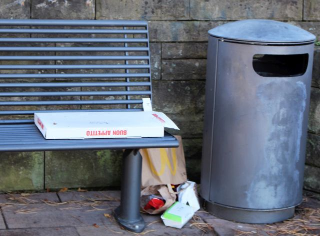Auf einer Bank liegt ein leerer Pizzakarton, neben der Bank eine Plastiktüte mit Müll - und unmittelbar daneben steht ein großer leerer Abfallbehälter.