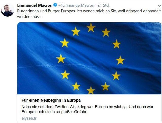 Facebook-Post von Macron mit einer EU-Fahne und dem Hinweis auf den Beitrag in EU-Zeitungen.