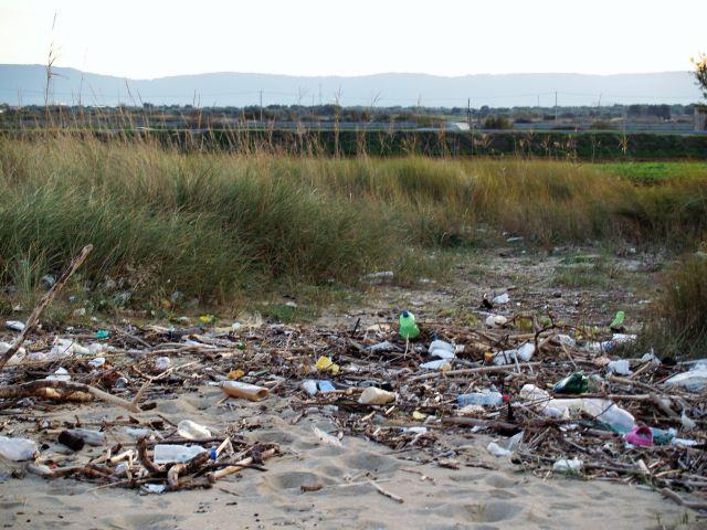Sandstrand, völlig übersät mit leeren Flaschen und anderem Müll. Dahinter grüner Bewuchs.