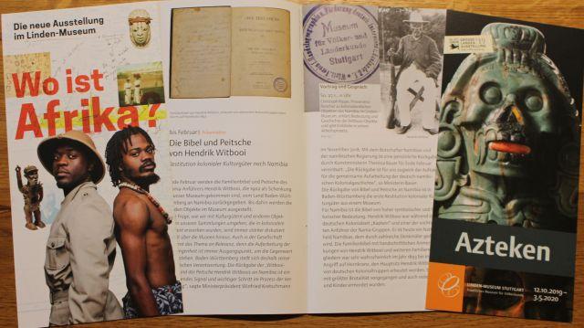 Zwei Prospekte und eine kleine Broschüre zu Ausstellungen im Stuttgarter Linden-Museum.