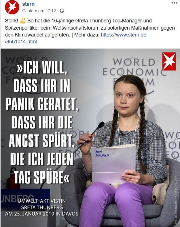 """Greta Thunberg in einem Post des Magazins 'Stern'. """"Ich will, dass ihr in Panik geratet, dass ihr die Angst spürt, die ich jeden Tag spüre."""""""