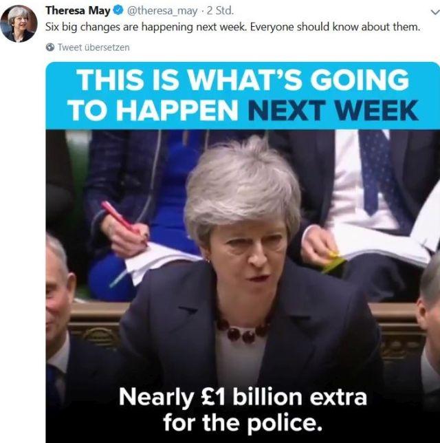 Theresa May im Unterhaus. Sie verkündete 1 Mrd. Pfunf zusätzlich für die Polizei.