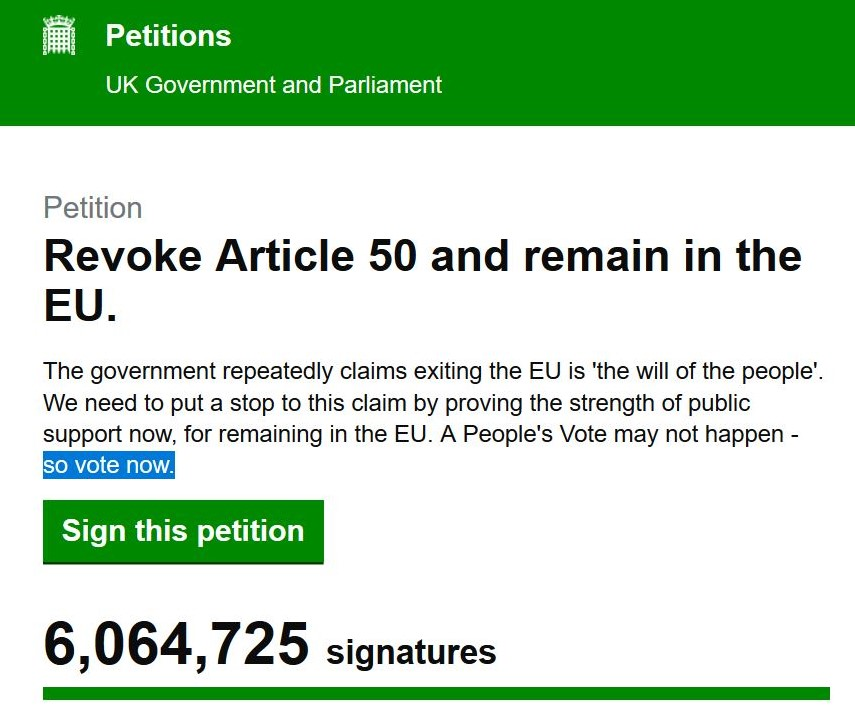 Petition mit dem Titel 'Revoke Article 50 and remain in the EU'.