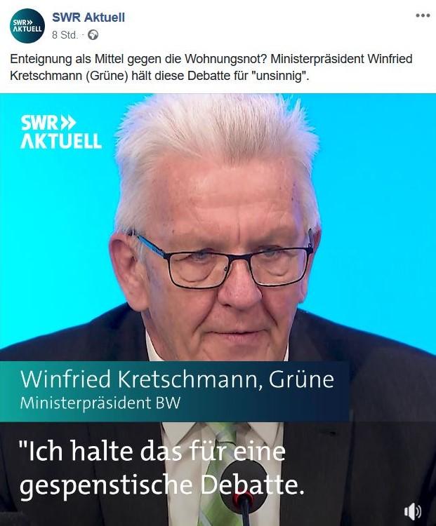 Ministerpräsident Kretschmann mit Brille und weißen Haaren.