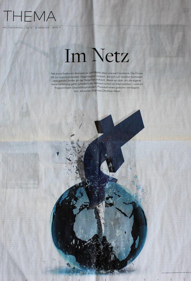Eine Reproduktion aus der Zeitung 'Die Welt'. Ein 'F' spaltet den Globus.