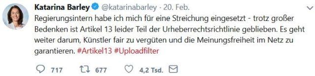 Tweet von Katarina Barley. Sie argumentiert, innerhalb der Bundesregierung habe sie gegen Artikel 13 des Urheberrechts gestimmt.