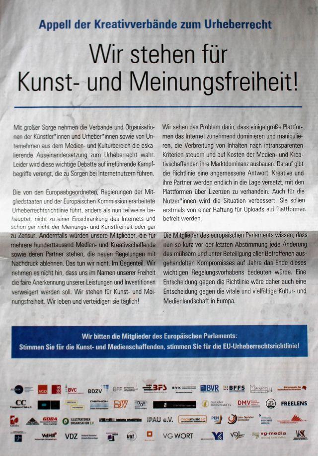 """""""Wir stehen für Kunst- und Meinungsfreiheit"""", so ist die ganzseitige Anzeige überschrieben. Unterzeichner sind u.a. die Zeitungs- und Zeitschriftenverleger."""