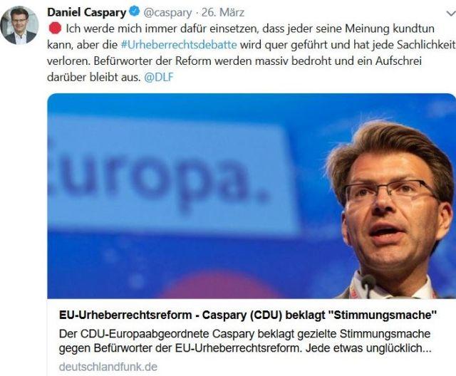 Facebook-Post von und mit Daniel Caspary. Er betont die Notwendigkeit der Urheberrechtsreform.