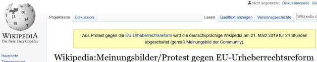 Wikipedia-Meldung, dass am 21. März 2019 das Informationsangebot aus Protest abgeschaltet werde.