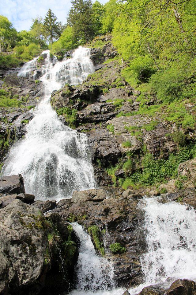 Das Wasser ergießt sich über steil abfallende Felsen. Links sind Pflanzen zu sehen.