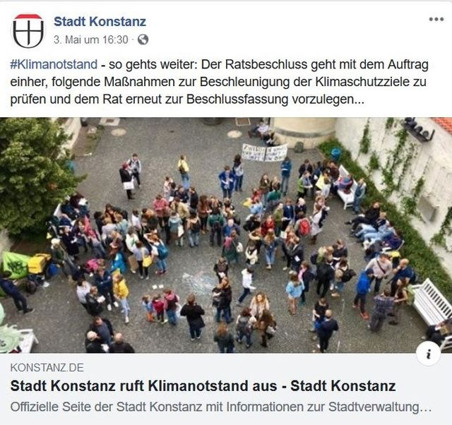 'Friday for Future'-Demonstranten in Konstanz. Stadt verkündet in diesem Facebook-Post den Klimanotstand.