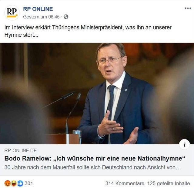"""Bodo Ramelow mit Anzug und Krawatte in einem Post der Rheinischen Post, die titelt: Bodo Ramelow: """"Ich wünsche mir eine neue Nationalhymne."""""""