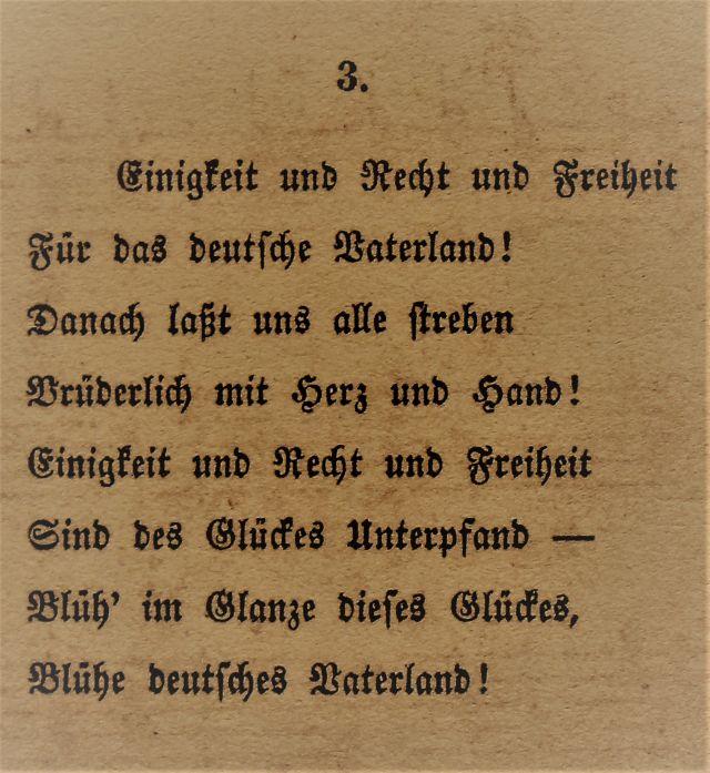 Die dritte Strophe der Nationalhymne im Originaldruck.
