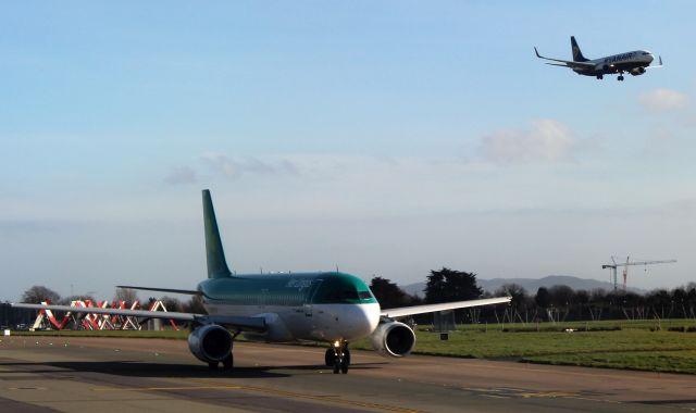 Eine grün-weiße Maschine von Aer Lingus rollend am Boden, in der Luft einschwebend ein Flugzeug von Ryanair.