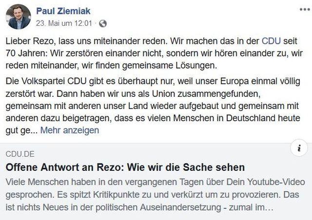 Post von Paul Ziemiak mit einer Einladung zum Gespräch an Rezo.