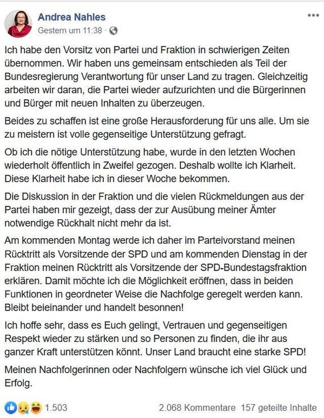 Facebook-Post mit dem Text des Rücktrittschreibens.