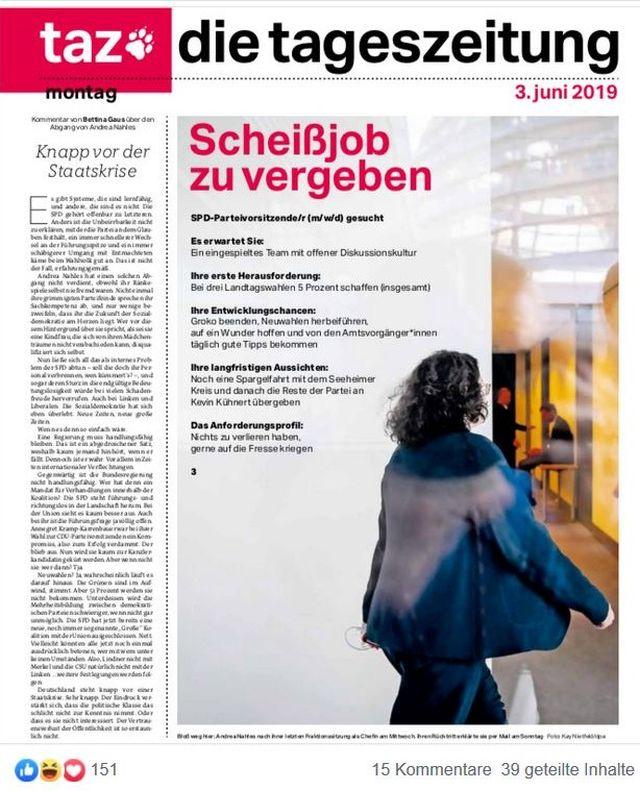 Titelseite der taz mit dem Titel 'Scheißjob zu vergeben'.