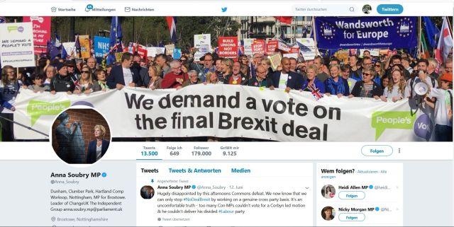 """Anna Soubry fordert weiterhin ein 2. Referendum über den EU-Austritt. - in: """"Von der Chaos-Premierministerin zum Brexit-Hardliner. Dem Vereinigten Königreich stehen unruhige Zeiten bevor"""" – www.deutschland-geliebte-bananenrepublik.de"""