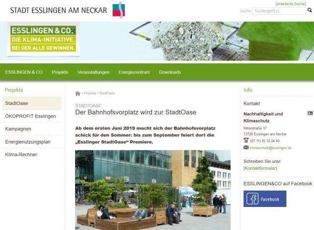 """Die Stadt Esslingen preist auf ihrer Internetseite die """"StadtOase"""" an - in: """"Esslinger """"StadtOase"""" – grüner Tupfer in steinernem Umfeld. Symbolpolitik hilft Natur, Umwelt und Klima nicht"""" – www.deutschland-geliebte-bananenrepublik.de"""