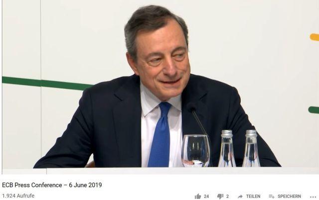 Mario Draghi bei der Pressekonferenz der EZB in Vilnius am 6. Jnui 2019