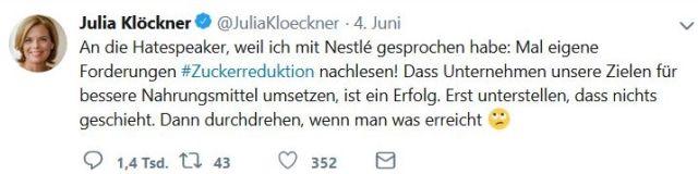 """Julia Klöckner diffamiert Kritiker als """"Hatespeaker"""" - in: """"Julia Klöckner: Von der Wolfsjägerin zum Nestlé-Model. Nicht jede Weinkönigin gibt eine gute Ministerin ab"""" – www.deutschland-geliebte-bananenrepublik.de"""