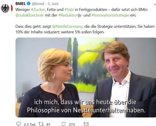 """Julia Klöckner macht Schleichwerbung für Nestlé - in: """"Julia Klöckner: Von der Wolfsjägerin zum Nestlé-Model. Nicht jede Weinkönigin gibt eine gute Ministerin ab"""" – www.deutschland-geliebte-bananenrepublik.de"""