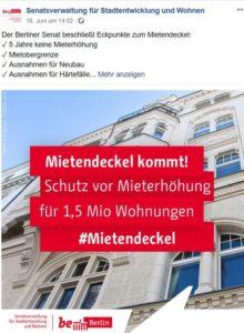 """""""Mietendeckel kommt"""" verkündete der Berliner Senat mit diesem Facebook-Post, Text in roter Fläche."""