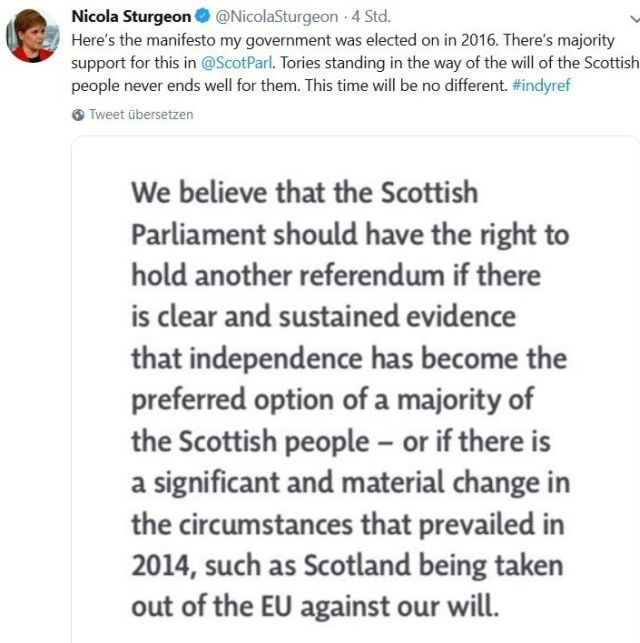 """Die Erste Ministerin der schottischen Regierung, Nicola Sturgeon, streitet weiterhin für die Unabhängigkeit Schottlands. - in: """"Von der Chaos-Premierministerin zum Brexit-Hardliner. Dem Vereinigten Königreich stehen unruhige Zeiten bevor"""" – www.deutschland-geliebte-bananenrepublik.de"""