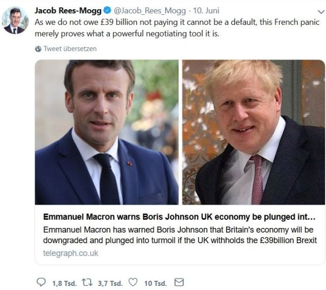 Jacob Rees-Mogg will die Zahlungen an die EU zurückhalten.