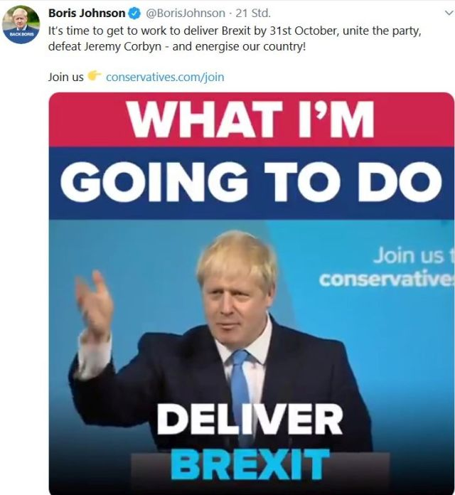 "Boris Johnson ineinem Tweet: ""What I#m going to do - Deliver Brexit""."