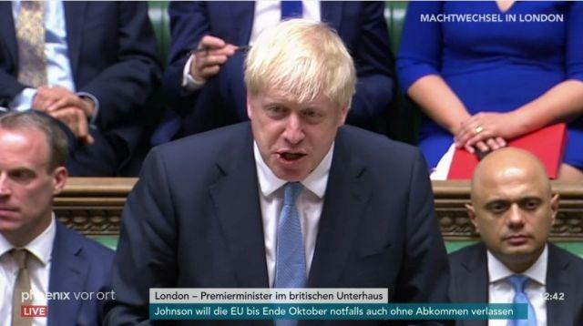 Boris Johnson mit blonder Mähne bei seiner ersten Rede als Premierminister im britischen Unterhaus.
