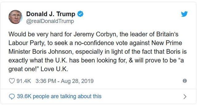 Tweet von Donald TRump, in dem er Jeremy Corbyn angreift und Johnson lobt.