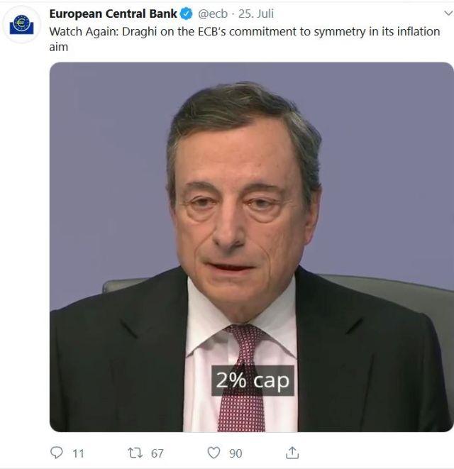 """Mario Draghi mit Krawatte, weißem Hemd und dunklem Anzug. Eingeblendet """"2 %""""."""
