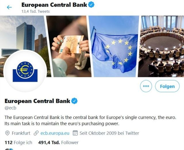 Screenshot mit Europaflagge und Gebäude der EZB.