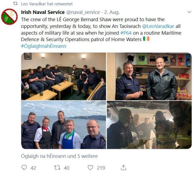 Ein Tweet zeigt Fotos von Leo Varadkar an Bord eines irischen Marineschiffs.