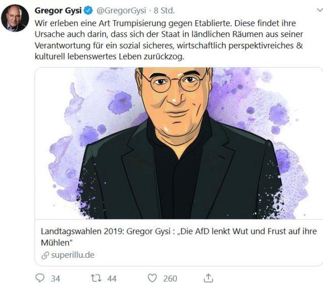 Gregor Gysi als Gemälde, Er betont, dass die ländlichen Räume mehr politische Aufmerksamkeit benötigen.