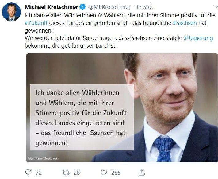 Michael Kretschmer betont in einem Tweet, dass das freundliche Schsen gesiegt habe.