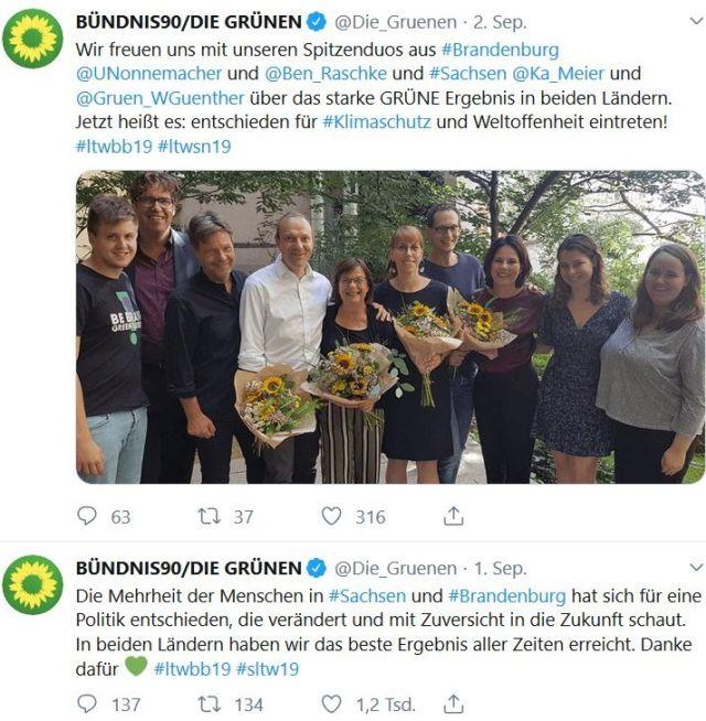 Die beiden Vorsitzenden der Grünen mit Landespolitikern. In den Händen haltensie Sonnenblumen.