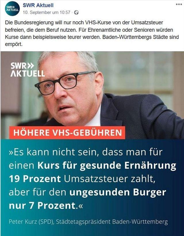 """Peter Kurz in einem Post des SWR mit dem Titel """"Höhere VHS-Gebühren""""."""