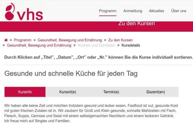 Werbung der VHS Stuttgart für einen Ernährungskurs.