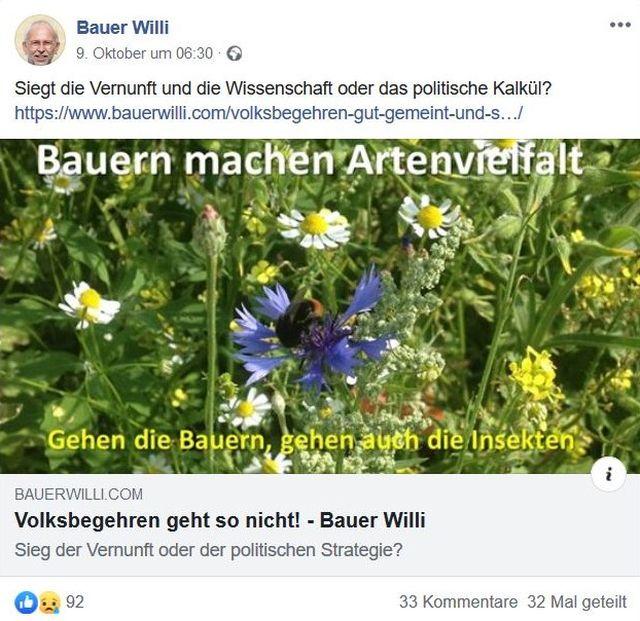 """""""Bauern machen Artenvielfalt"""", so heißt es in einem Facebook-Post von Bauer Willi. Eingeklinkt in bunte Blumenwiese."""